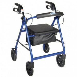 Aluminum Rollator w Fold Up and Removable Back Support, Removable 8″ Wheels, Padded Seat and Loop locks