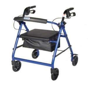 Aluminum Rollator with Fold Up and Removable Back Support, Padded Seat, 6″ Casters with Loop Locks. 4-Wheel Rollator