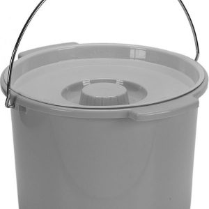 Commode Bucket with Metal Handle and Cover, 12 Quart