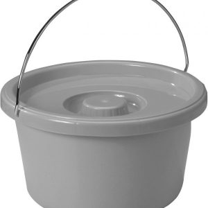 Commode Bucket with Metal Handle and Cover, 7.5 Quart