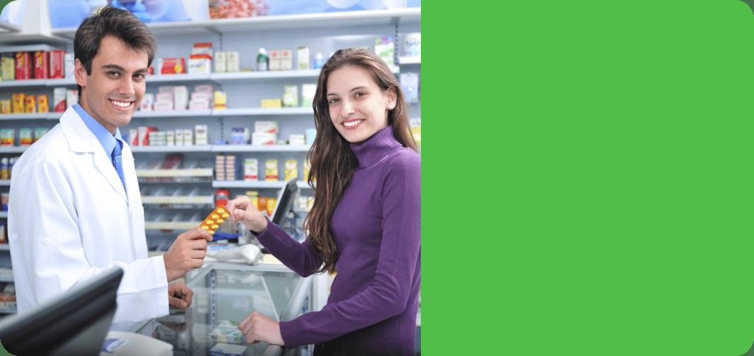 a pharmacist man and a customer