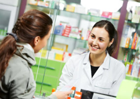 a pharmacist and a customer