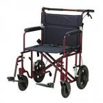 "22″ Bariatric Aluminum Transport Chair with 12″ Rear ""Flat Free"" Wheels"