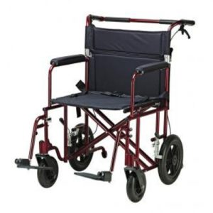 """22″ Bariatric Aluminum Transport Chair with 12″ Rear """"Flat Free"""" Wheels"""