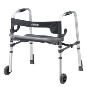 Clever-Lite LS Walker with Seat, Push Down Brakes