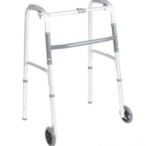 Deluxe Folding Walker, One Button with 5″ Wheels 2