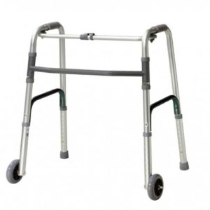 Deluxe Folding Walker, One Button with 5″ Wheels