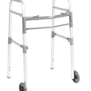 Universal (Adult or Junior) Folding Walker, Two Button with 5″ Wheels