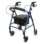 Aluminum Rollator, Padded Seat, 6″ Casters with Loop Locks