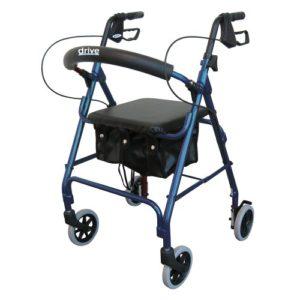 Aluminum Rollator, Padded Seat, 6″ Casters with Loop Locks
