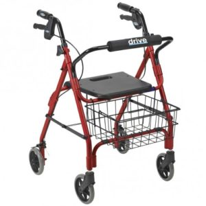 Deluxe Aluminum Rollator with Plastic Seat, 6″ Casters with Lever Locks. 4-Wheel Rollator
