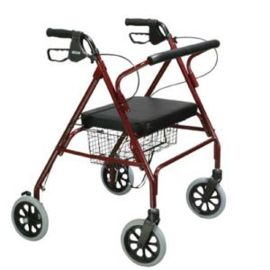 Go-Lite Bariatric Steel Rollator, Padded Seat, 8″ Casters with Loop Locks