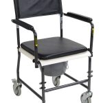 Portable, Upholstered Commode with Wheels and Drop-Arm